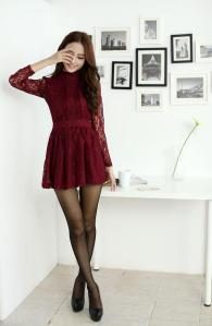 a=ine lace dress red