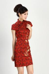 beauty red cheongsam