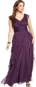 gaun pesta cantik warna ungu