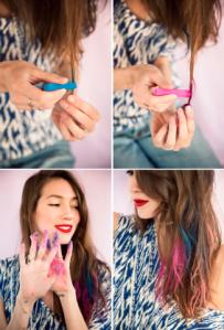 cara menggunakan hair chalk