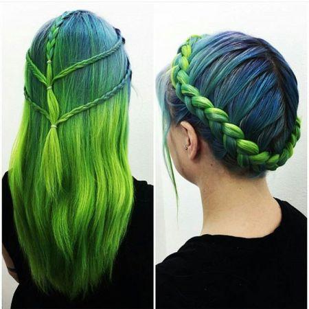 rambut warna hijau wanita 1