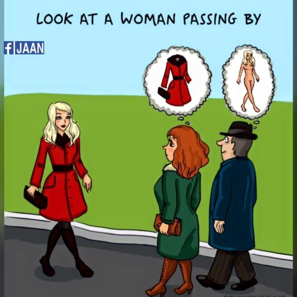 woman vs man look at a woman passing by