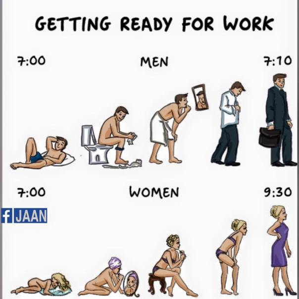 women vs man getting ready for work