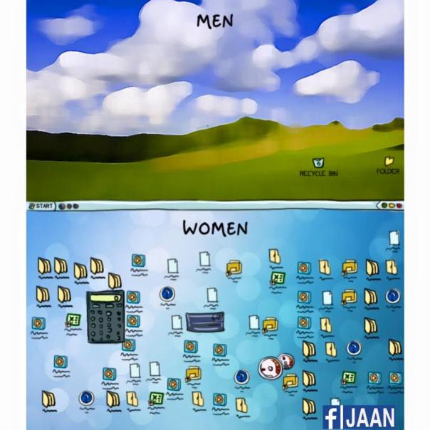 women vs man laptop desktop