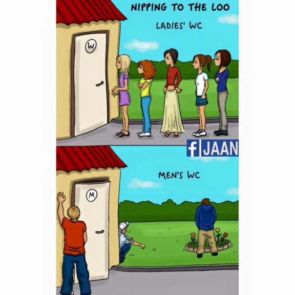 women vs man nipping to the loo WC