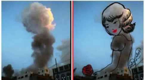 asap bekas ledakan diubah jadi pesan perdamaian 1