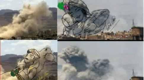 asap bekas ledakan diubah jadi pesan perdamaian 2