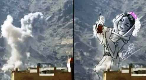asap bekas ledakan diubah jadi pesan perdamaian