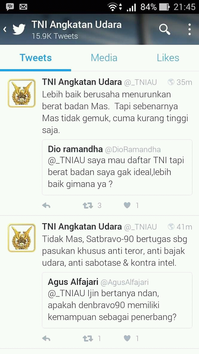 Admin Twitter TNI AU Yang Super Lucu Intip Di Sini Tweet