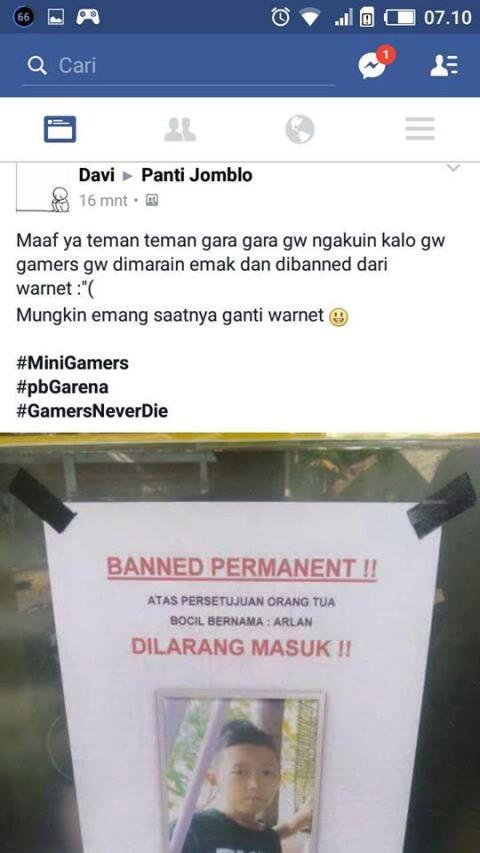 Ngaku gamer dibanned dari warnet