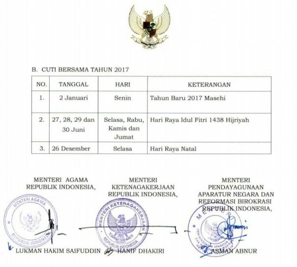 Skb 3 menteri hari libur nasional 2017