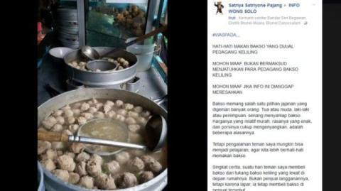 Hati-hati makan bakso yang dijual pedagang bakso keliling