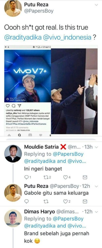 Image result for raditya dika vivo fake